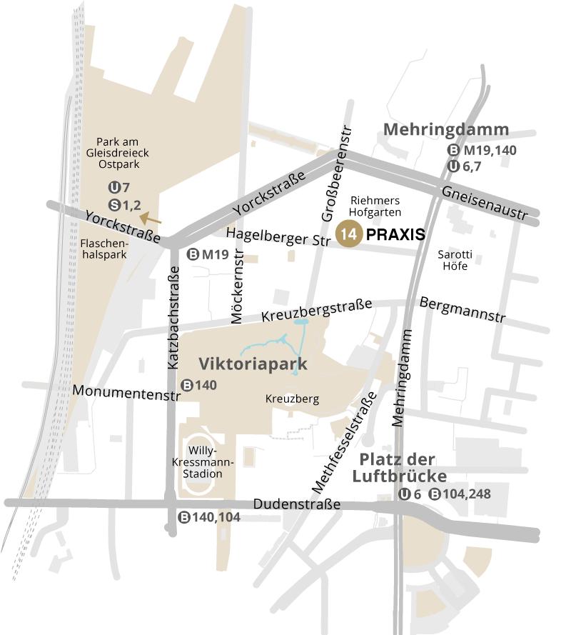 Unsere Zahnarztpraxis mitten in Berlin Kreuzberg, in der Nähe von Bergmannkiez, Viktoriapark, Mehringdamm, Großbeerenstraße, Yorckstraße, Gneisenaustraße, Bergmannstraße, Möckernstraße, Kreuzbergstraße, Katzbachstraße.